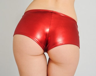4b119a9df73cf Red Shiny Booty Shorts. Valentines Day Hot Pants. Low Waisted Sexy Red  Shorts. Dancewear. Pole dance pants. Wet look, Latex look.