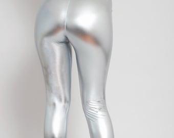 910f5b5e80674 Silver Metallic Leggings. Disco Leggings. Shiny Leggings. Faux Leather  Leggings. High Waist.