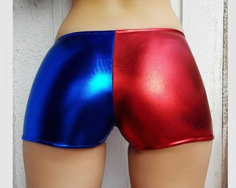Metallic Harley Quinn shorts. Longer Suicide Squad Cosplay Shorts. Red and Blue shiny spandex shorts. Low Rise or High Waist