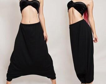 Pantaloni Harem di cotone elasticizzato. Oversize nero Hippie pantaloni 67815c8a525