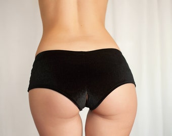 dbb51afe8 Crotchless panties. Velvet open crotch hot pants. Cheeky shorts. Wedding  lingerie.