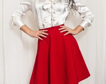 510707c2f5a High Waisted Skater Skirt.Retro Circle Skirt.Made to Measure. Pin up skirt. Red