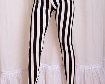 Striped Beetlejuice Leggings. Black and White Vertical Stripe Yoga Pants. High Waisted Cotton leggings. Prisoner Pants. Jail Leggings.