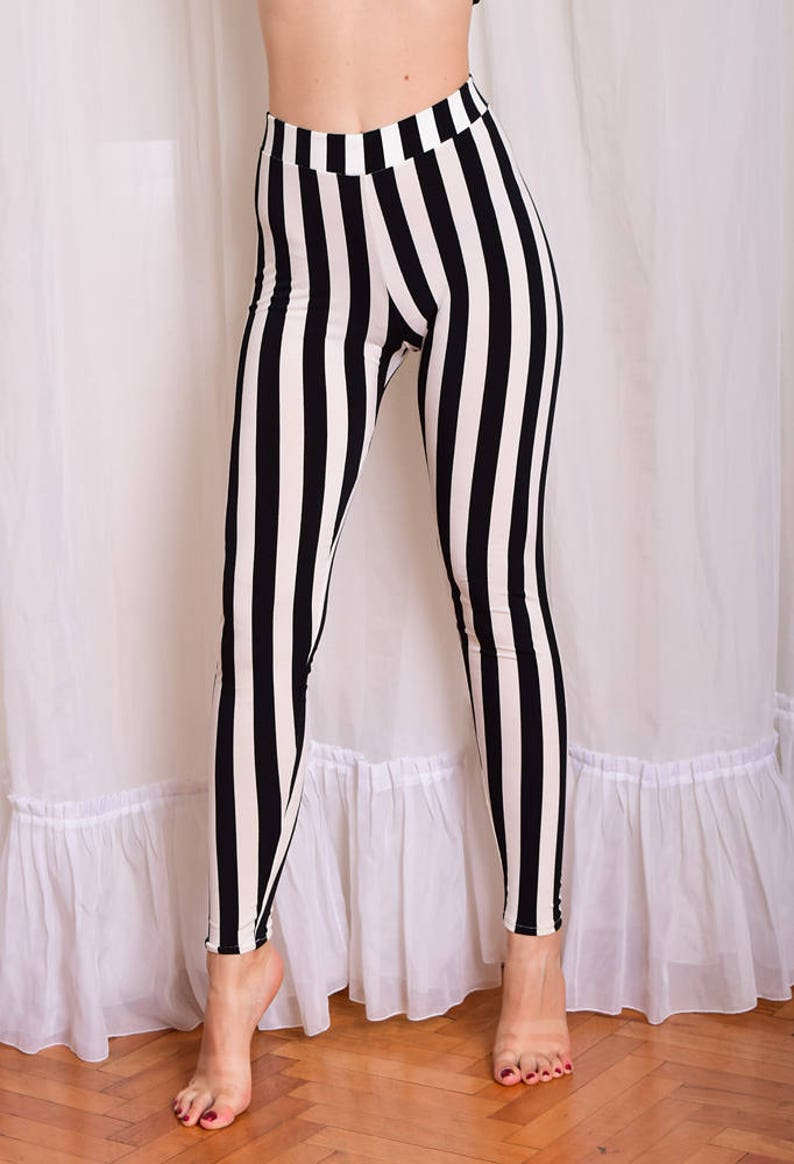 d72fe067ac2eb Striped Beetlejuice Leggings. Black and White Vertical Stripe | Etsy