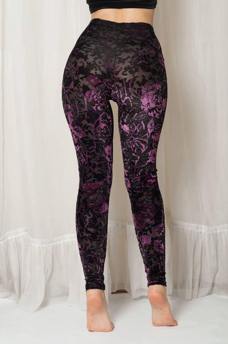 30d09611b1641c Velvet leggings Purple and Black with transparent flowers. | Etsy
