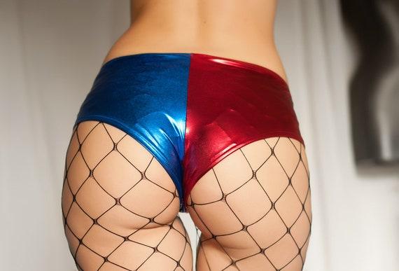Cosplay hot pants Blue Metallic shine shorts Dancer Clothing Harley Quinn blue boy shorts Disco Shorts