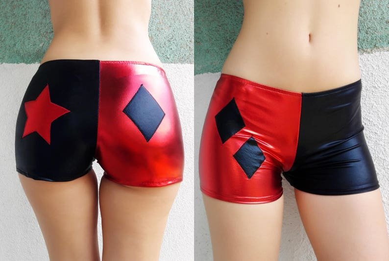 Halloween costume Diamond and star at the back Black and Red Harley Quinn Inspired Shorts shiny Metallic boy shorts Cosplay hot pants
