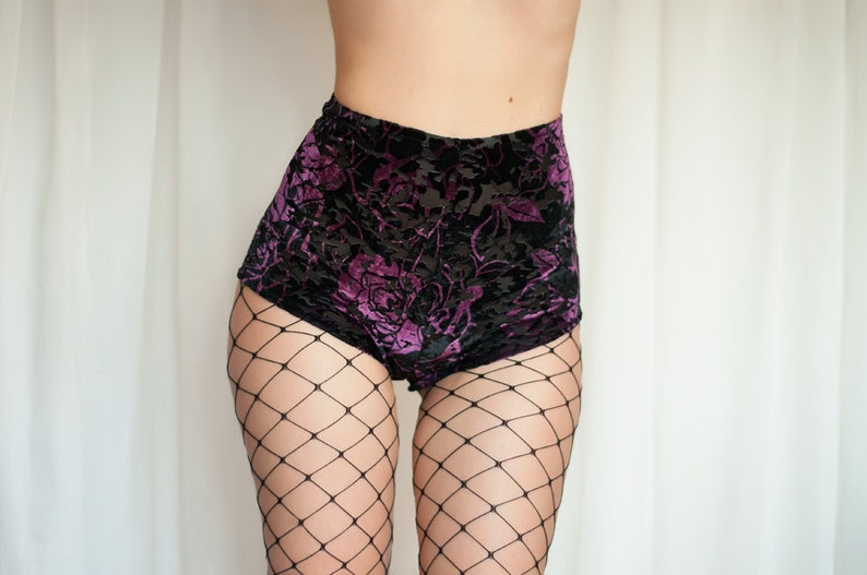733c964a2 Velvet High Waisted Shorts. Black and Purple Lace Shorts.