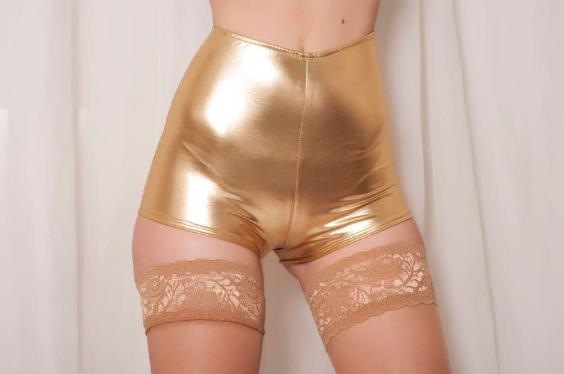 319415a56 Crotchless High Waisted Metallic Golden Shorts. Cheeky Shorts.