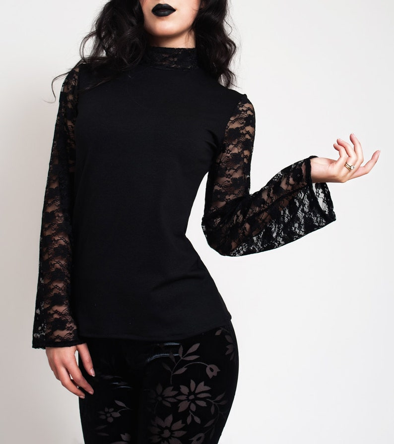 3462fdc105 Sexy Lace Long Sleeve Black Top.Elegant Gothic Tight   Etsy