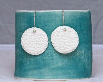 Porcelain moon earrings, artisan ceramics, Sterling silver, lightweight, elegant, white jewellery, minimalist, wedding gifts, Gifts for her