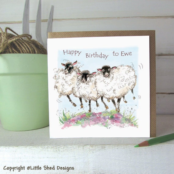 Sheep Birthday Card Happy Birthday To Ewe Birthday Card Etsy