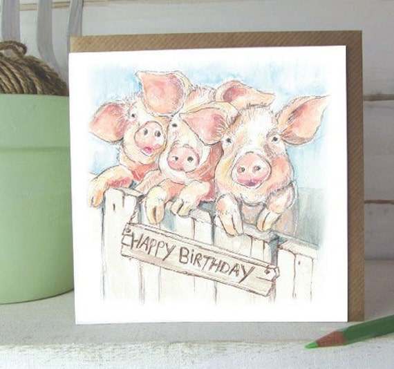 Happy Birthday Pig Card Three Little Pigs Pigs Greeting Etsy