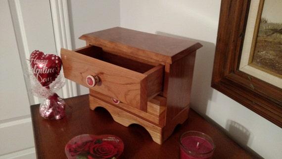 Wood dresser, makeup storage box, Jewelry box, earring box, keepsake box,  Fine woodworking, Cherry.