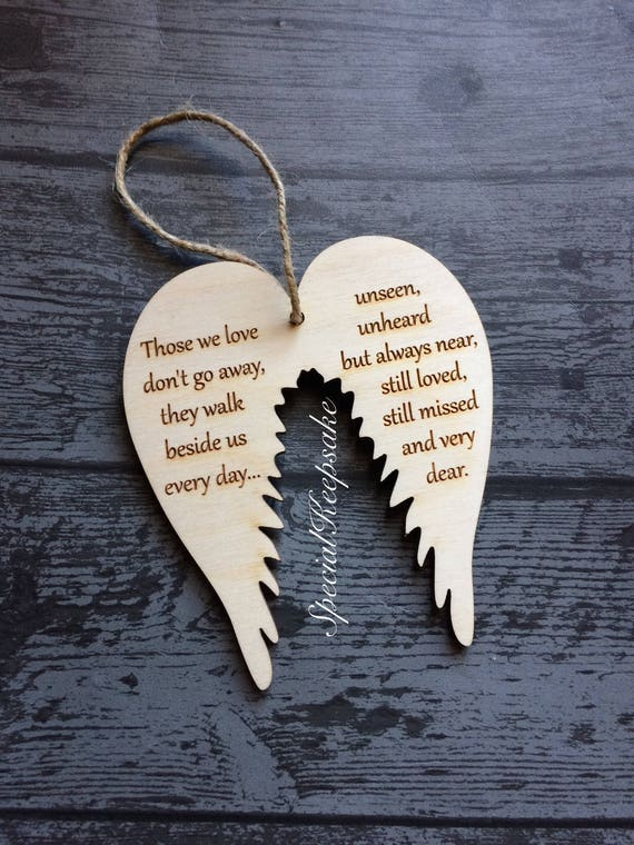 Angel Wings Wooden Christmas Tree Decoration Ornament Plaque Memorial  Heaven Love Heart Gift Quote Keepsake Loved Missed Dear Remeberance