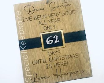 Personalised Dear Santa Days Until Christmas Chalkboard Countdown Sign Wooden Engraved Plaque Gift Children December Reusable Kids Elf Chalk