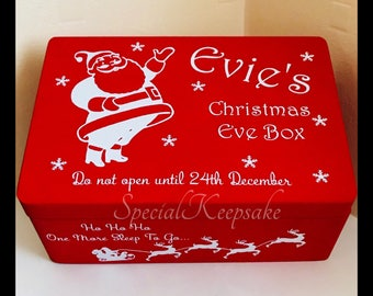 Personalised Christmas Eve Box Storage Fun Festive Treats Children Magical Memories Solid Pine Santa Wooden Box Kids Baby First Christmas