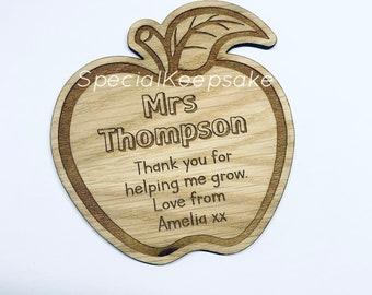 Personalised Teacher Apple Wooden Coaster Engraved End Of Term Appreciation Nursery Preschool Primary Thank You Gift Coffee Tea School Desk