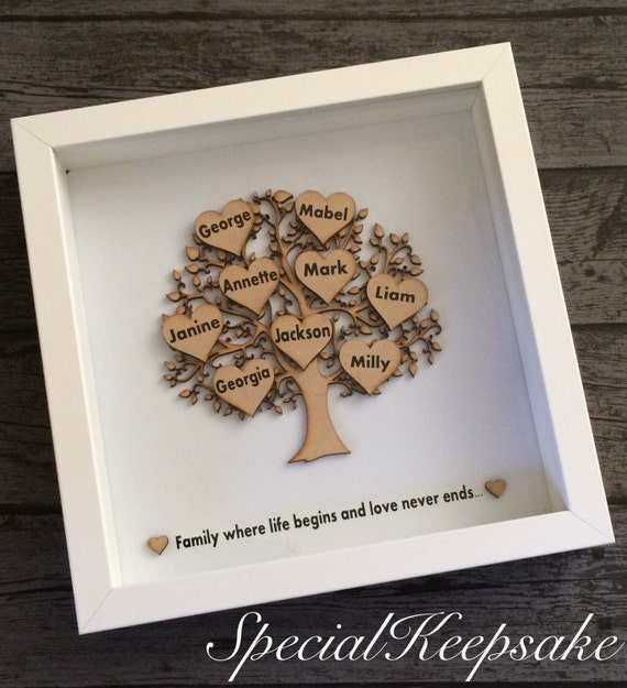 Personalised Wooden Family Tree Frame Hearts Love Life Name Etsy