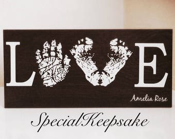 Personalised Family Baby Child Children Hand Foot Print Love Freestanding Wall Art Plaque Bespoke Nursery Bedroom Decor Keepsake Footprint