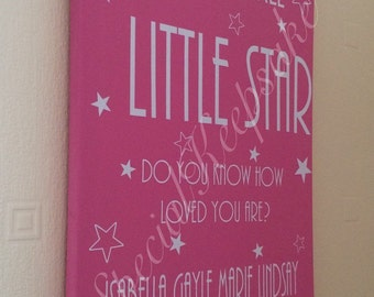 Personalised Twinkle Twinkle Star Canvas 30x40cm Birth Christening Gift New Baby Nursery Bedroom Wall Art Decor