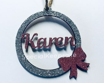 Personalised Wooden Christmas Tree Bauble With Name & Bow Decoration Glitter Sparkle Keepsake Ornament Santa Handmade Family Name Gift Home