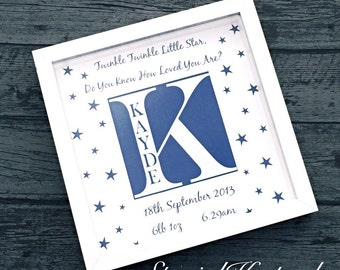 Personalised Birth Detail Frame Christening New Baby Unique Special Gift Newborn Twinkle Twinkle Little Star