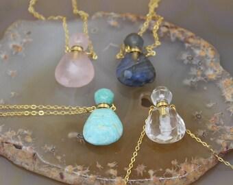 You choose Amazonite crystal bottles amazonite crystals Gold Plated Chain with amazonite crystal bottle amazonite necklace amazonite
