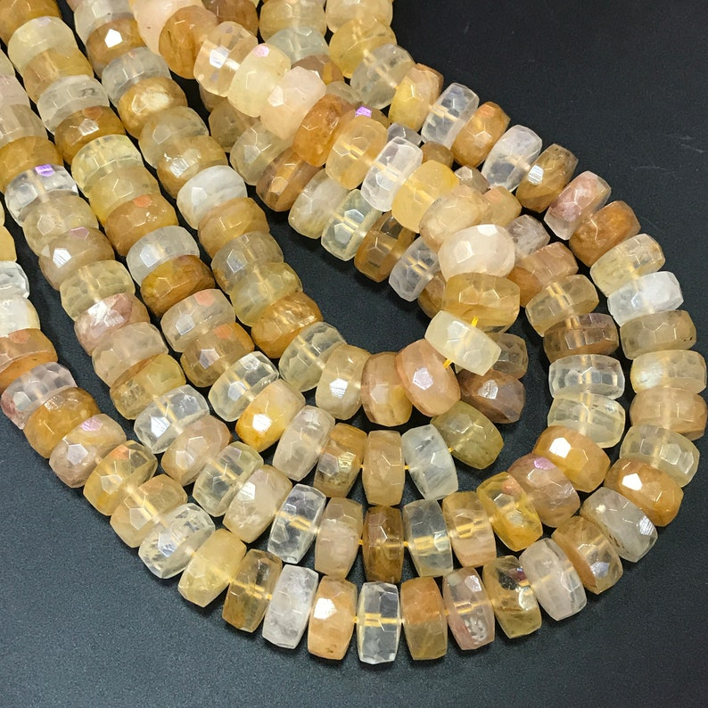 46-48pcsstr,8x15mm Natural Citrine Quartz Faceted Rondelle Spacer Beads,Cut Yellow Crystal Nugget Beads Pendant Necklaces Charms Jewelry