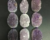 5pcs,Large Natural Amethyst geode slab nugget beads,Rough purple quartz raw druzy crystal pendant DIY necklace bracelet 26-35x39-45mm