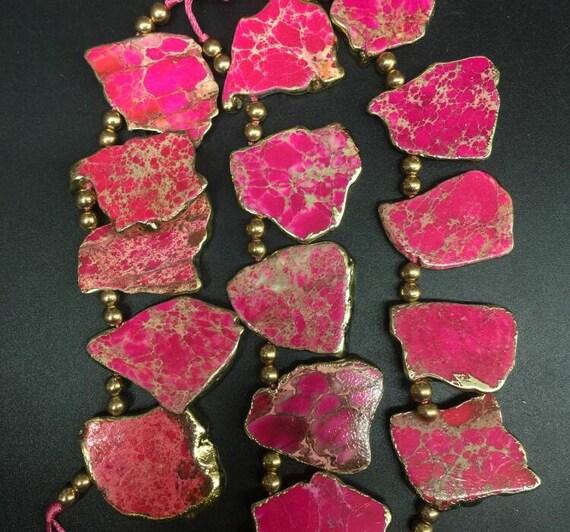Pink color Natural emperor stone smooth slab Freeform shape beads,Gold  plated edge variscite sea sediment nugget Pendants Necklaces