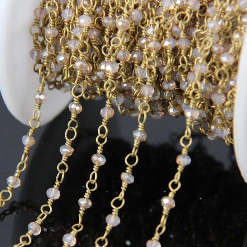 2x3mm wire wrapped with brass copper loop necklace findings,brown opal color glass faceted rondelle beads chains rosary chain