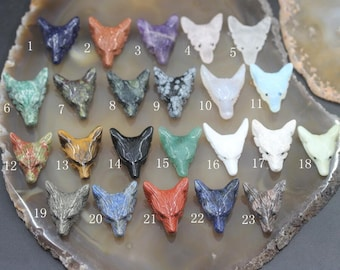 27 Stones Choice,Carved Wolf Head Pendants,Natural Gemstones Crystal Amethyst Lapis Agate Opal Tiger Eye Wolf Head Pendant Charms Wholesale