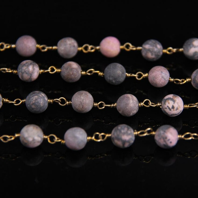Rhodonite 8mm Matted Round Bead Chain,Brass Wire Wrapped Natural Rhodochrosite Stone Rosary Chain DIY Fashion Necklace bracelet Jewelry