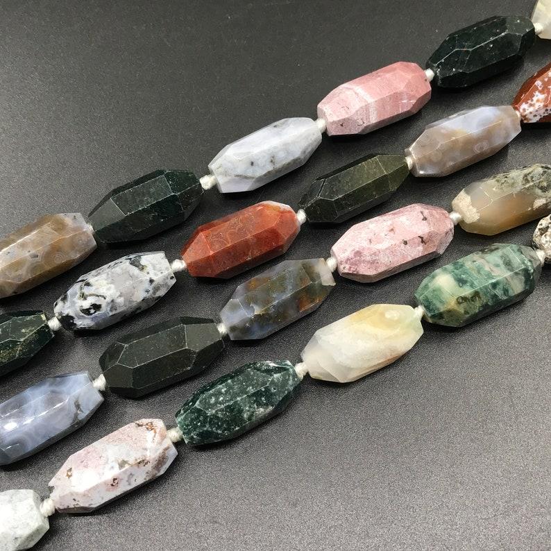 12pcs,Faceted Natural Ocean Agate Nugget Barrel Beads Connectors,Long Size Ocean Jasper Gemstone Pendants Necklaces Bracelets Jewelry Crafts