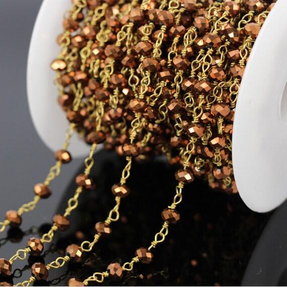 Natural Pyrite Gemstone 3-4 mm Facettes Perles Laiton Rosary Perles Link Chaîne