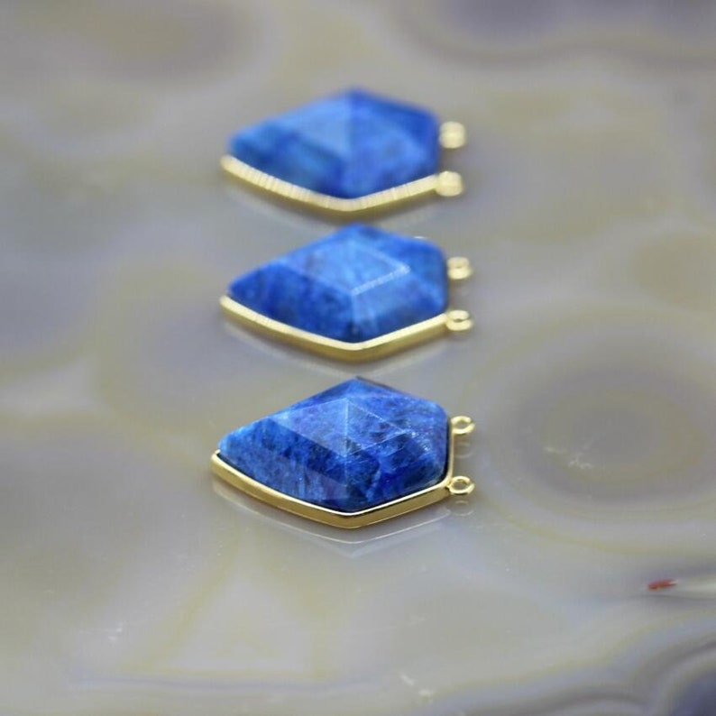 3-10pcs Faceted Sodalite Pentagon Nugget Pendants Charms,Gold Edge Natural Blue Stone Gems Double Bail Connectors Necklace Jewelry Making