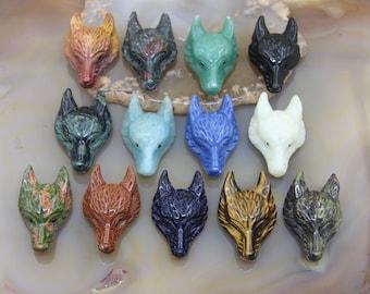 13 Stone Choice,Natural Gemstones Carved Wolf Head Pendants,Obsidian Aventurine Jade Lapis Opal Tiger Eye Wolf Head Pendant Charms Wholesale