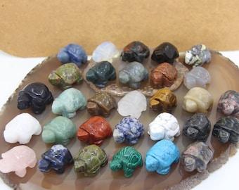 "1.5"" Natural Gemstone Hand Carved Tortoise Figurine,Obsidian/Agate/Quartz Turtle Statue Decoration,Crystal Animal Carved Decor Wholesales"