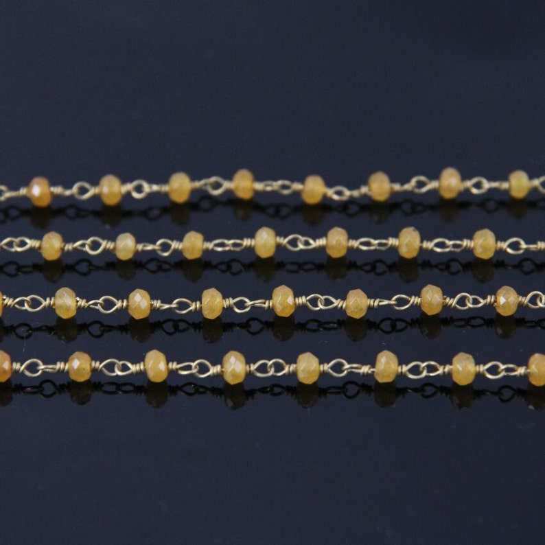 Yellow Malaysia Jade Faceted beads Rosary Chain,Brass Wire Wrapped  Jasper Rondelle Chains Fashion necklace sweater chain 3x4mm