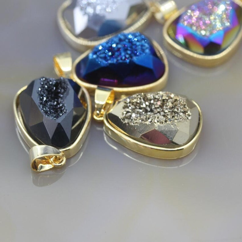 3-10pcs Faceted Teardrop Shape Druzy Geode Pendants,Gold Edge Natural Agate Quartz Drusy Slab Nugget Necklace Charms Earrings Jewelry Making