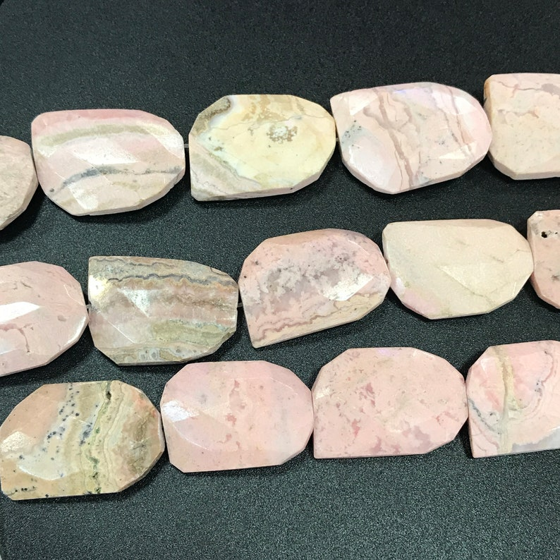 20-21x29-30mm,Brazil Rhodochrosite Faceted Slice Slab Beads,Natural Pink Gemstone Cut Nuggets DIY Pendants Necklace Charms Jewelry Supplies