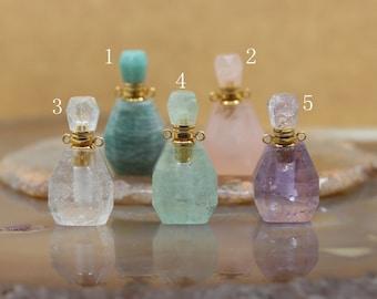 Natural Crystal Gemstone Essential Oil Diffuser Bottle Pendants,Amethyst Fluorite Rose Quartz Perfume Bottle For Necklace Charms Wholesales