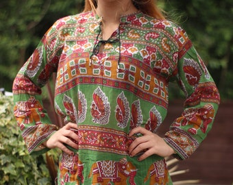 209260ba656 Indian Patterned Blouse - Hippie Boho Top Goa Tapestry Festival Geometric  Hippy Gypsy Yoga Pagan Witch fairy - One Size UK 6 8 10 12 14