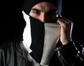 Neck warmer- knitted - Dual sided -black&white- handmade