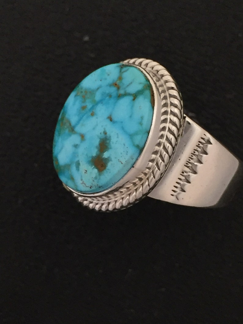 Native American Navajo Kingman Turquoise /& Sterling Silver Ring Size 11