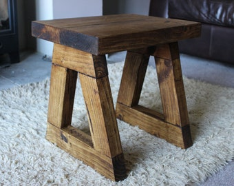Handcrafted Rustic Side Table / End Table In Walnut Wax With Trapezium Legs