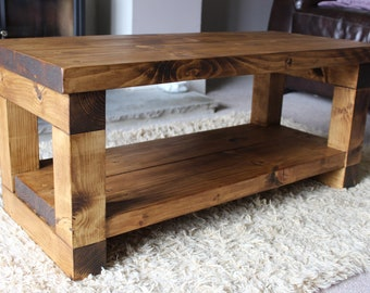 Rustic Handcrafted Reclaimed Chunky Solid Wooden Coffee Table / TV Stand  Finished In Walnut Wax.