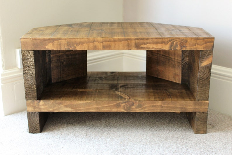 reputable site 7a89d 08509 Rustic Handcrafted Chunky Reclaimed corner TV Unit stand/cabinet In walnut  wax.