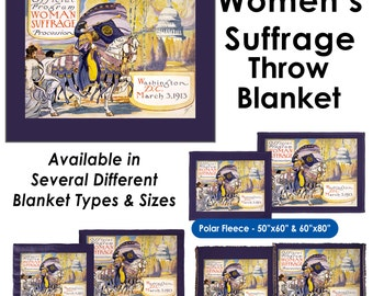 6ab81fce Women's Suffrage Historic Feminist Women's March - Throw Blanket / Tapestry  Wall Hanging